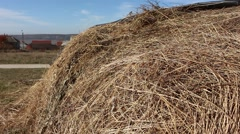 Large stack of hay. Stock Footage