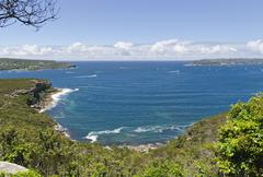view of the sydney harbour, north and south head. - stock photo