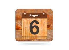 august 6. - stock illustration