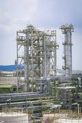 refining tower - stock photo