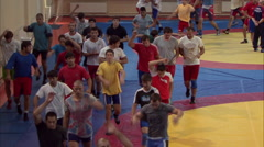 Training wrestlers 06 Stock Footage