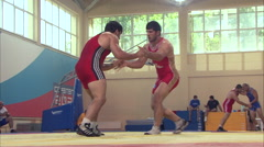 Wrestlers compete in training Stock Footage