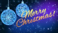 Blue christmas decorations with christmas greetings Stock Footage