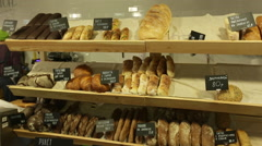 Bread shop with price tags Stock Footage