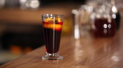 Hot mulled wine at the bar Stock Footage