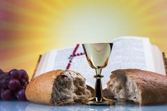 Christian religion, wine, bread and the word of god Stock Photos