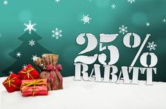 Christmas gifts 25 percent rabatt discount Stock Illustration
