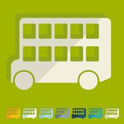 Flat design: bus double decker Piirros