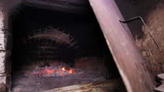 Coals in the stove with an open Stock Footage
