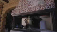 Russian samovar standing on the stove Stock Footage