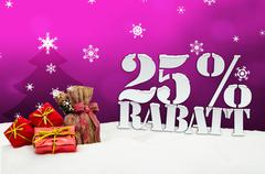 christmas gifts 25 percent rabatt discount - stock illustration