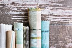 tartan fabrics - stock photo