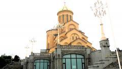 Sameba Cathedral in Tbilisi, Georgia Stock Footage