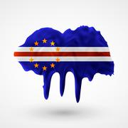 Flag of Cape Verde painted colors Stock Illustration