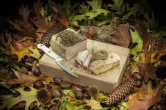 autumnal still life composition with lard and bread - stock photo