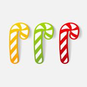 realistic design element: candy cane - stock illustration