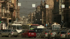 Petersburg street with cars in the autumn Stock Footage