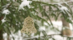 Decoartive bell hanging in christmas tree Stock Footage