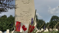 Grave of Sgt A Cosens VC, Groesbeek Canadian War Cemetery, Netherlands. Stock Footage