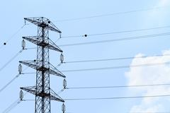 Detail of electricity pylon against Stock Photos