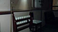 Billiard balls overlooking the empty pool table Stock Footage