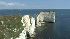 Old Harry Rocks, Handfast Point, Isle of Purbeck, Dorset, UK. Stock Footage