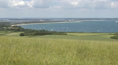 View over Studland Bay, Isle of Purbeck, Dorset, UK. Stock Footage