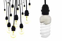 A lamp with low consumption compared to tungsten bulbs - stock photo