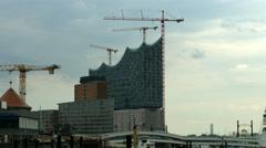 Hamburg Elbphilharmonie construction site Stock Footage