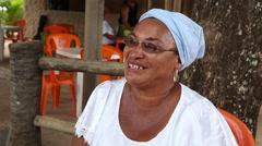 "A Brazilian woman saying ""Welcome to Bahia, Portuguese - Bem Vindos a Bahia."" Stock Footage"
