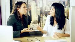 Women office worker fighting hard power control Stock Footage