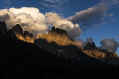 Sundown over pale di st.martino, dolomites Stock Photos