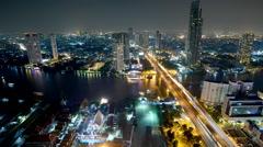 Timelapse of Bangkok Transportation at Dusk with Modern Business Building Stock Footage