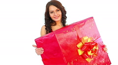 Woman with big gift box . Stock Footage