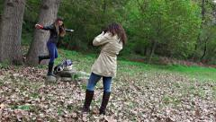 Stock Video Footage of uhd autumn photoshoot. beautiful girl model posing for the camera the photogr