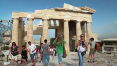 Tourists in Athenian Acropolis in Greece Stock Footage