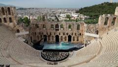 Ancient theatre near a Parthenon temple, Athenian Acropolis, Greece Stock Footage