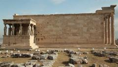 Erechtheion - antique temple in Athenian Acropolis, Greece Stock Footage