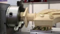 Wooden product rotates in woodworking machine-tool Stock Footage