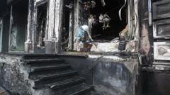 Burnt building in Kiev, Ukraine Stock Footage