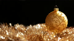Christmas Golden Ball, Right side in frame - stock footage
