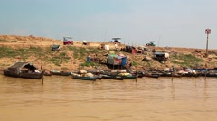 Ship sails to the Tonle Sap lake in Siem Reap province, Cambodia Stock Footage