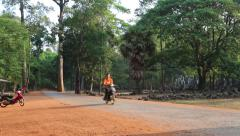 Road near Angkor Thom temple complex in Siem Reap, Cambodia Stock Footage
