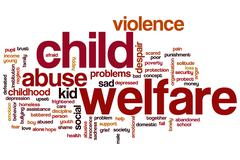 child welfare word cloud - stock illustration