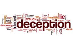 deception word cloud - stock illustration