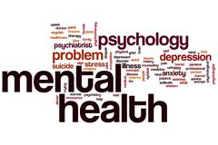 mental health word cloud - stock illustration