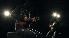 2 Mandolin Players on Dark Stage HD Stock Footage