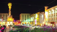 The main square of Linz at night Stock Footage