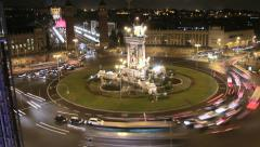 City Square Life Traffic Time Lapse at Night Stock Footage