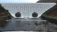 Stock Video Footage of Caban Coch Dam overflowing, Elan Valley, Wales